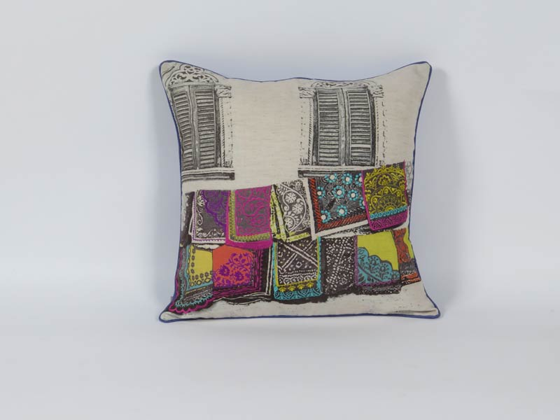 cushion print with embroidery